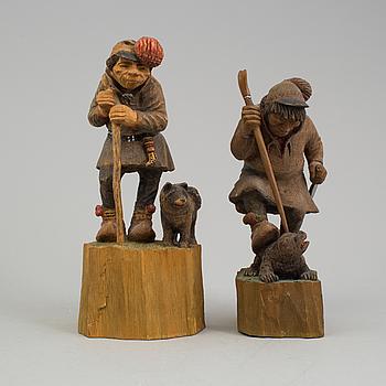 WEIMAR SÖDERSTRÖM, skulpturer två stycken, bemålat trä, signerade och daterade 1956.