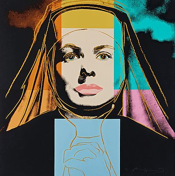 "175. Andy Warhol, ""The Nun"", from; ""Three portraits of Ingrid Bergman""."
