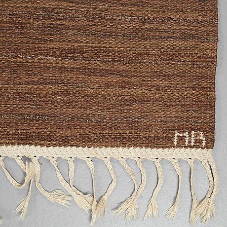"Marianne richter, a carpet, ""tolv rutor, brun"" flat weave, ca 249 x 175 cm, signed ab mmf mr."