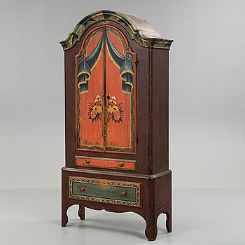 A PAINTED PINE CUPBOARD DATED FROM 1805 JÄMTLAND, SWEDEN.