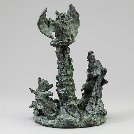 Katarina lÖnnby, skulptur i brons signerad k. lönnby