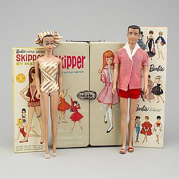 a set of 6 barbiedolls, Mattel 1960's.