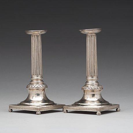 Anders fornholm, ljusstakar, ett par, stockholm 1801, gustavianska.