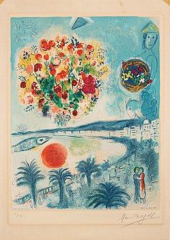 """382. MARC CHAGALL Efter, """"Soleil couchant"""", ur: """"Nice et la Côte d'Azur""""."""