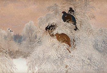 366. Bruno Liljefors, Vinterbild med orrar.