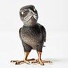 A fabergé, obsidian figure of a raven-chick, in original case.