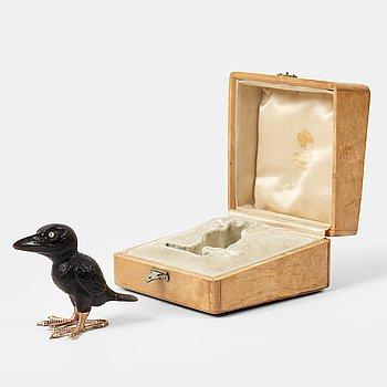 230. A Fabergé, obsidian figure of a raven-chick, in original case.