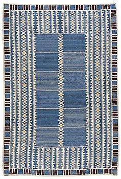 "204. Barbro Nilsson, A CARPET, ""Salerno blå"", flat weave, ca 310 x 206 cm, signed AB MMF BN."