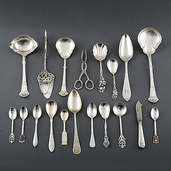 A collection of silver tableware, 56 pcs, mostly Swedish stamps, 19th - 20th century. Total weight 1075 g.