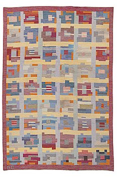 253. AGDA ÖSTERBERG, MATTA, rölakan, ca 356,5 x 241 cm, signerad AÖ och broderat på baksidan AGDA ÖSTERBERG.
