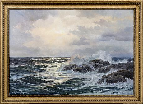 Edgar freyberg, oil on canvas, signed.