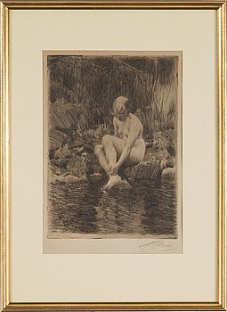 """ANDERS ZORN, etsning, """"Dagmar"""", signerad med blyerts. Utförd 1912."""