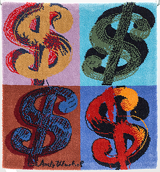 "ANDY WARHOL, ANDY WARHOL, after, rug/textile,  ""Dollar"", app. 88x81 cm."