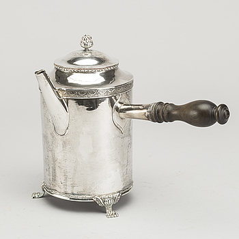 ANDERS BRANDT, Norrköping (1777-1790), kaffekanna, silver, sengustaviansk, trol 1780.