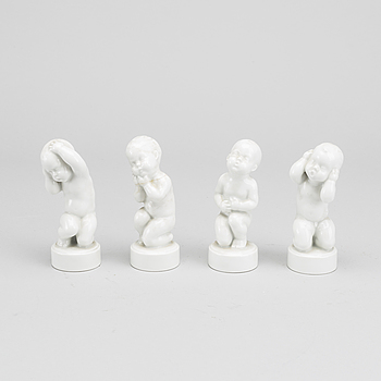 FIGURINER, 4 st, porslin, Svend Lindhart, Bing & Gröndahl, Danmark.
