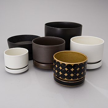 RICHARD LINDH, SIX CERAMIC FLOWER POTS by Arabia.