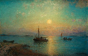 397. ALFRED WAHLBERG, The sun setting over fishing boats.
