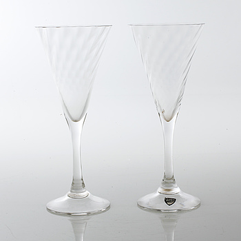 Ten wineglasses by Gunnar Cyrén for Orrefors, late 20th century.