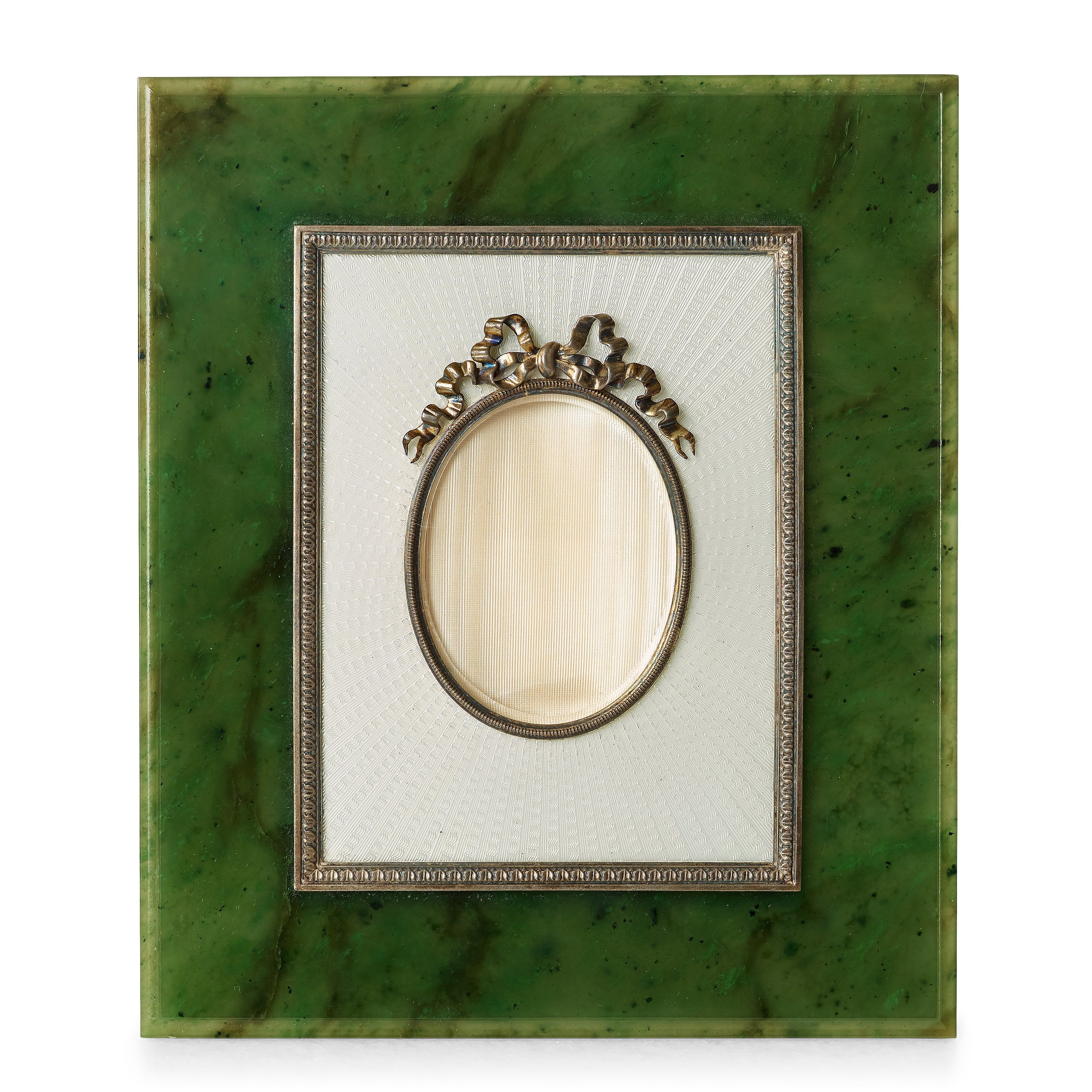A Fabergé nephrite, silver and enamel frame, workmaster Antti ...