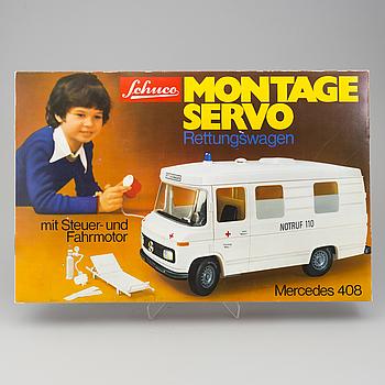 """SCHUCO, """"Montage Servo Rettungsvagen"""" Mercedes 408, Tyskland, 1970-tal."""