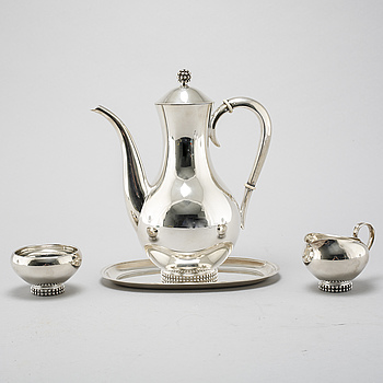 A silver coffee set of four pieces from the middle of the 20th century.