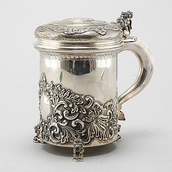 A 20th century silver jug.