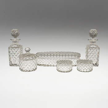 6 pieces of toilet glass tableware, early 20th century.