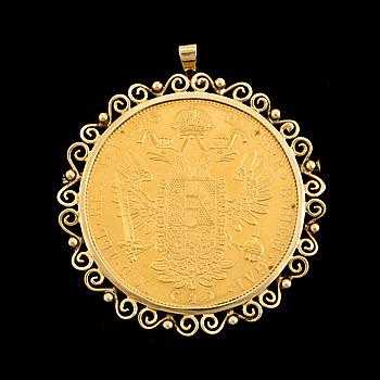 A coin/brooch, gold, Kejsar Frans, Hungary/Austria, 1915. Weight ca 21 grams.