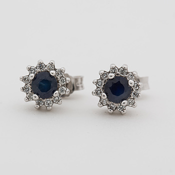 A pair off earrings with synthetic sapphires and brilliant-cut diamonds ca 0.12 cts.