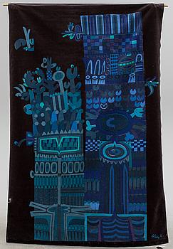 """STIG LINDBERG, textil, """"Vertikal förvandling"""", för Nordiska Kompaniet, 1960-tal."""