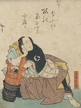 TRÄSNITT, Japan, 2 st, möjligen Hirosada, Japan,1800-tal.