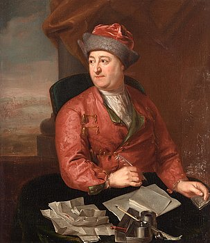 302. Lorens Pasch d ä Circle of, A writing gentleman in a pink banyan.