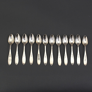TESKEDAR 12 st, silver, Svensk spets, Jacob Engelberth Torsk, Stockholm, 1907.