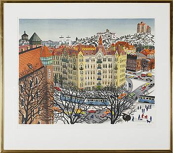 MONA HUSS WALIN, färglitografi, signerad, daterad 1984 och numrerad 137/400.