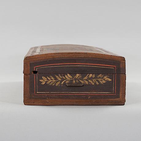 A folk art violin box from arbrå hälsingland marked oes 1834.