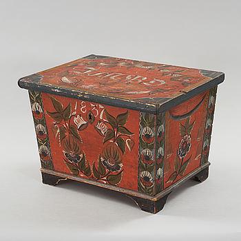 a folk art box from Bjuråker Hälsingland marked JMBD 1837.