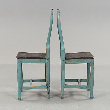 A set of 6 early 10th century folk art chairs from hälsingland.
