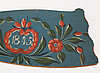 A painted traditional folk art flax knife, trönö hälsingland 1845.