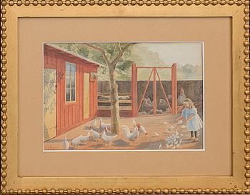 EMILIA LÖNBLAD, tillskriven, akvarell, sign E.L Vånga 1902.