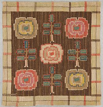 "MÄRTA MÅÅS-FJETTERSTRÖM, A TEXTILE. ""Rosorna"". Flat weave (Inplock på linnebotten). 104  x 95 cm. Signed MMF."