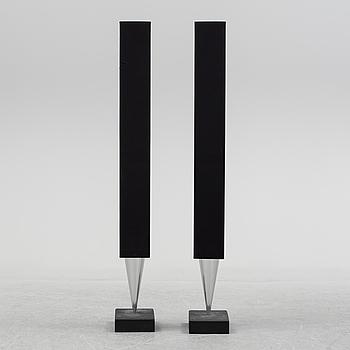 A pair of loudspeakers by Bang & Olufsen.