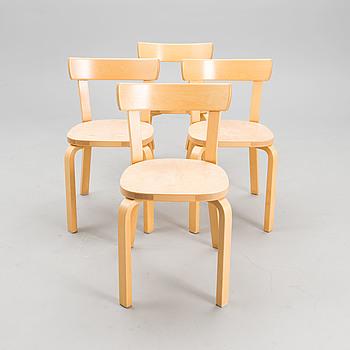 ALVAR AALTO, stolar 4 st, modell 69, Artek 1900-talets slut.