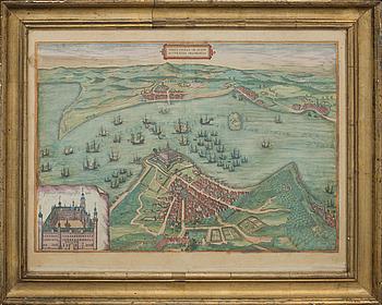 FRANS HOGENBERG, KARTA, kopparstick, handkolorerad, Öresund, 1500-/1600-tal.