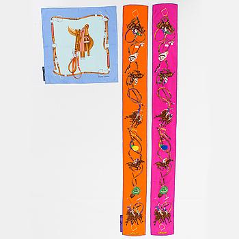 Three silk scarves by Ralph Lauren.