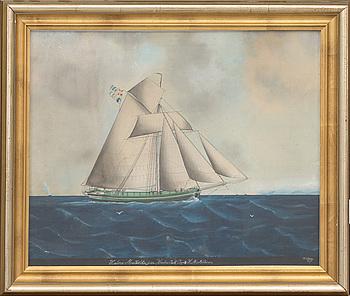 LARS PETTER SJÖSTRÖM, Marinmålning, blandteknik på papper, signerad samt daterad 1875.
