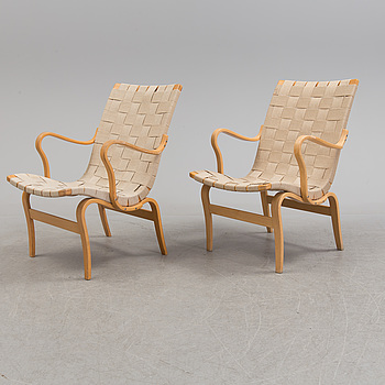 BRUNO MATHSSON, A pair of 'Eva' easy chairs by Bruno Mathsson, Dux.