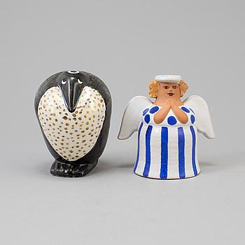 LISA LARSON, figuriner, 2 st, stengods, K-studion, Gustavsberg.