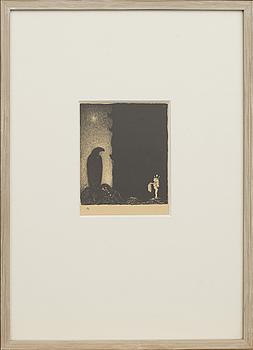 "JOHN BAUER,litografi ur serien ""Troll"", 1915. Numrerad 4."