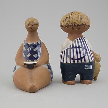 """LISA LARSON, figuriner, 2 st, """"Amalia"""" samt """"Malin"""", Gustavsberg."""