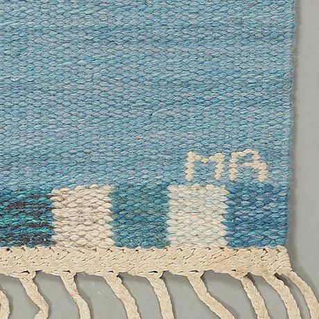 "Marianne richter, a carpet, ""muren, ljusblå"", flat weave, ca 217,5 x 136,5 cm, signed ab mmf mr."